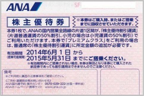 ANAの株主優待券なら50%オフ!