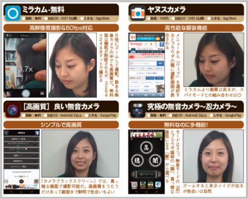 無音カメラおすすめアプリ