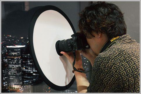 忍者レフでガラスの写り込みを防止して写真撮影
