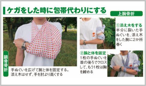 手ぬぐいを包帯代わりにする使い方