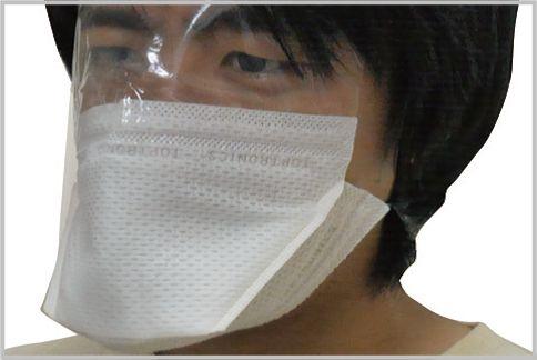 防塵マスクにシールドが煙もシャットアウトする
