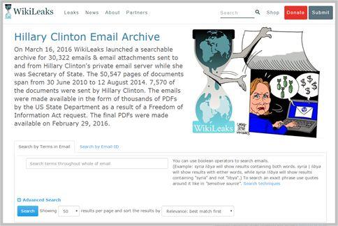クリントンのメールをウィキリークスで見る方法