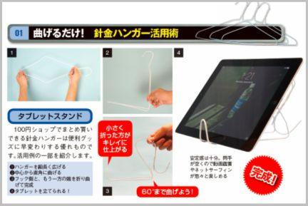 iPadスタンドを針金ハンガーを曲げて自作する