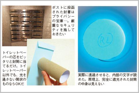 封筒の中身をトイレットペーパーの芯で透視する