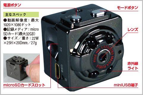 2千円以下で買える動体検知機能付き小型カメラ