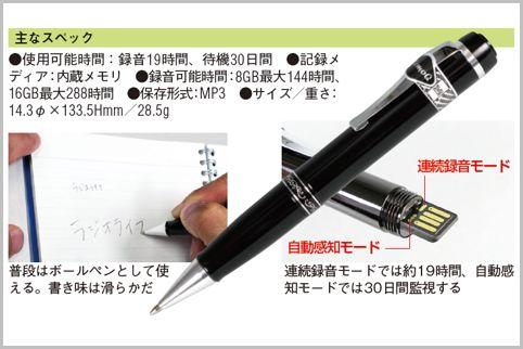 ペン型ボイスレコーダーはキャップを回して録音