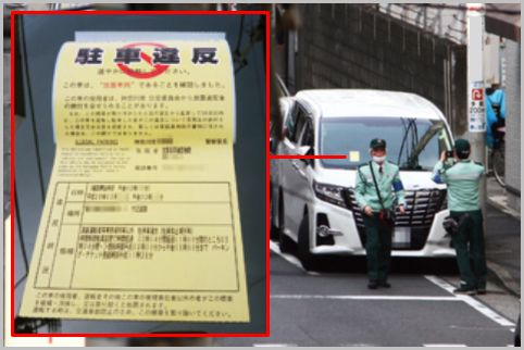路上駐車に駐禁ステッカーを貼る駐車監視員