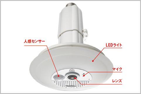 電球ソケットに設置するLEDライト型防犯カメラ