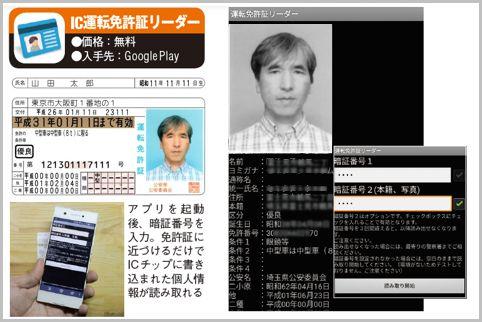 運転免許証のICチップの情報がアプリで読める