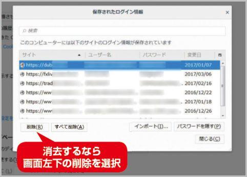 ブラウザ保存されたログインパスワード閲覧方法