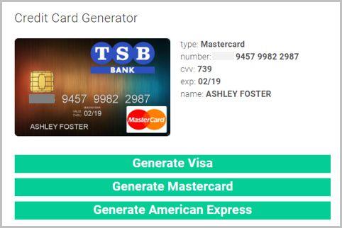 架空のクレジットカード番号を発行するサイトとは