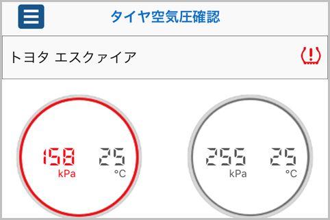 タイヤ空気圧を管理する「TPMS」をアプリで確認