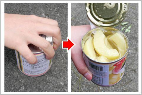 缶切りなしでも素手で缶詰を開ける方法とは?