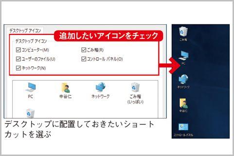 Windows10デスクトップに便利なアイコンを追加