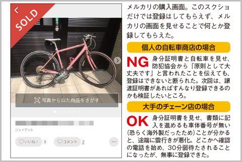 メルカリ購入の自転車の「防犯登録」やり方は?