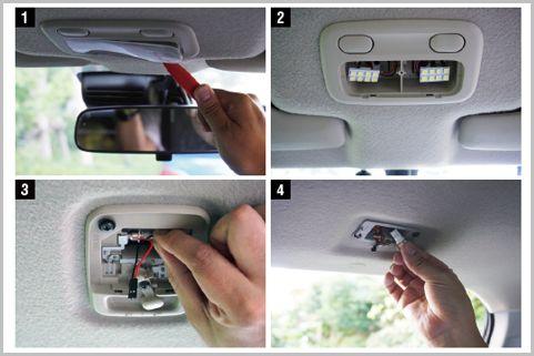 車のルームランプを白色LEDに交換して明るさ向上