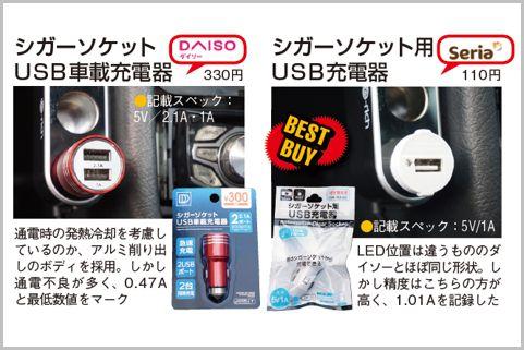 100均の「USBカーチャージャー」はセリアが優秀