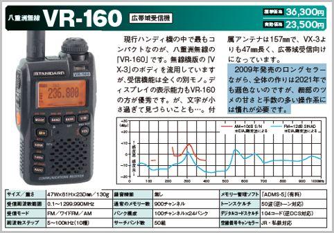 「VR-160」はラジオを聞きながら受信が楽しめる