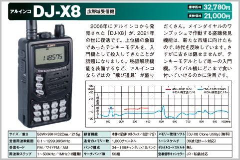 アルインコ「DJ-X8」(広帯域受信機)
