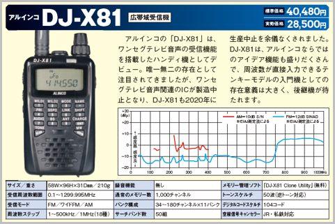 アルインコ「DJ-X81」(広帯域受信機)